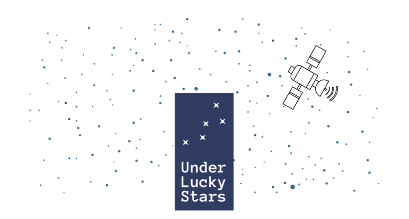 Under Lucky Stars Logo In The Night Sky